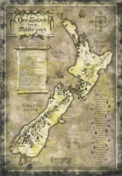 New-Zeeland kaart als Midden-Aarde